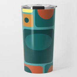 Mid Century Modern Turquoise Rectangles Travel Mug