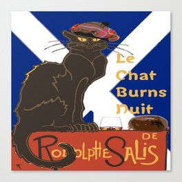 Le Chat Burns Nuit Haggis Dram Scottish Saltire Canvas Print