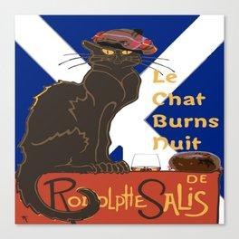 Le Chat Burns Nuit Haggis Dram Scottish Saltire Canvas Print