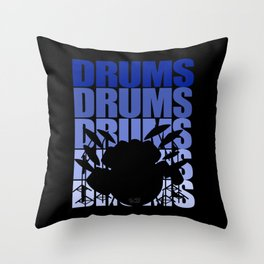Drums Blue Throw Pillow