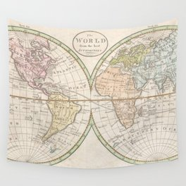 Vintage Map of The World (1798) Wall Tapestry