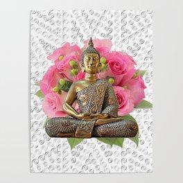 Buddha Rose Silver Mandala Poster