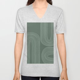 Hand drawn Geometric Lines in Forest Green 3 Unisex V-Neck