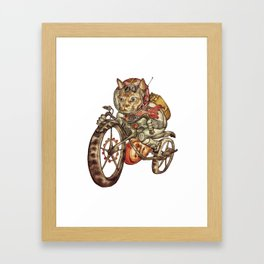 Berserk Steampunk Motorcycle Cat Framed Art Print