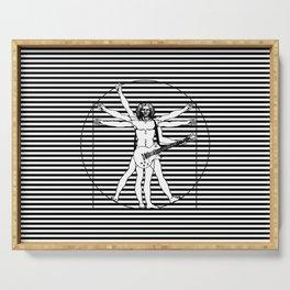 Vitruvian man - Les Paul guitar playing D-Chord (version with strips) Serving Tray