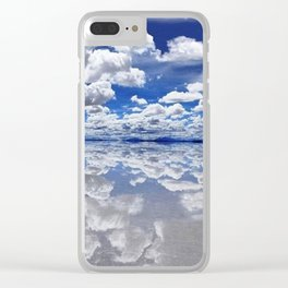 Salar de Uyuni, Bolivia Mirrored Lake with clouds Clear iPhone Case
