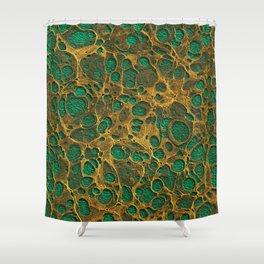 Dark Spring Green Gold Marble Shower Curtain