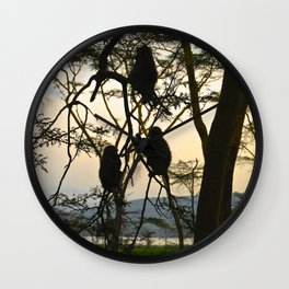 Kenya Monkey Wall Clock