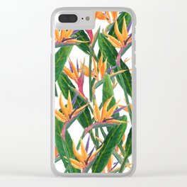 bird of paradise pattern Clear iPhone Case