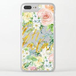 "Oh la la "" Fashionable Watercollor Floral Pattern Clear iPhone Case"