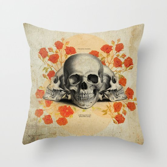 I Became Insane... Edgar Allan Poe Skull Print Throw Pillow