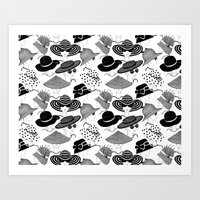 hats Art Prints featuring Hats, Hats, Hats!! by Pretty Wild Ink