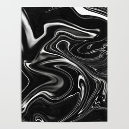 Black Gesso Paint Abstract Poster