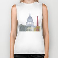 washington dc Biker Tanks featuring Washington DC skyline poster by Paulrommer