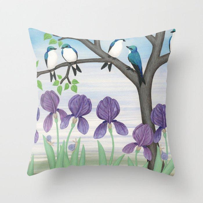 tree swallows & irises Throw Pillow
