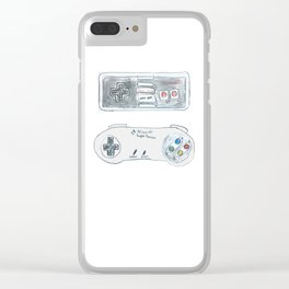Old School Controllers Clear iPhone Case