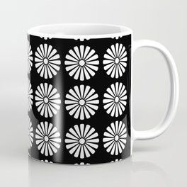 Black And White Flowery Daisy Pattern Coffee Mug