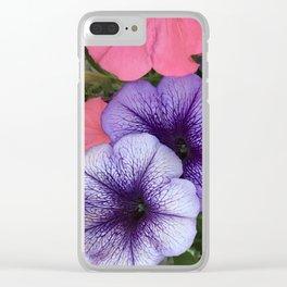 Purple Petunias Clear iPhone Case