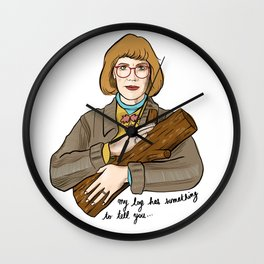 My log has something to tell you - the log lady illustration. Twin peaks character. Wall Clock