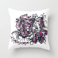 clockwork Throw Pillows featuring Clockwork by Voodoodle