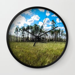 Cypress Trees and Blue Skies Wall Clock