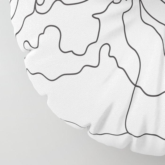Minimal Line Art Ocean Waves Floor Pillow