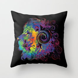 PSYCHEDELIC LION Throw Pillow