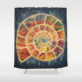 Abstract Colorful Ocean Nautilus Shell Shower Curtain