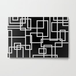 Geometric Cubic Line Pattern Black And White Metal Print