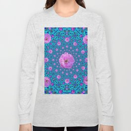 100 PINK ROSES & TURQUOISE ART Long Sleeve T-shirt