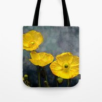 iceland Tote Bags featuring  Iceland poppy  by LudaNayvelt