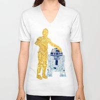 glitter V-neck T-shirts featuring Glitter Droids by foreverwars
