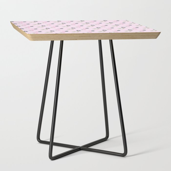 the_pink_bunnies_pattern_Side_Table_by_Nav_Notebooks__Black__Square
