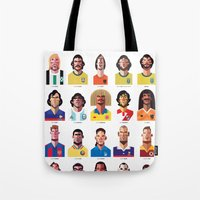 messi Tote Bags featuring Playmakers by Daniel Nyari