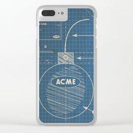 Acme Spherical Bomb vintage Blueprint Clear iPhone Case