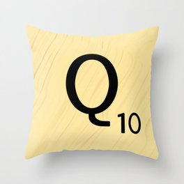 Scrabble Q - Large Scrabble Tile Letter Throw Pillow