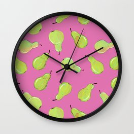 Pears on Pink Wall Clock