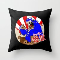 kaiju Throw Pillows featuring Kookie Kaiju by Joel Jackson