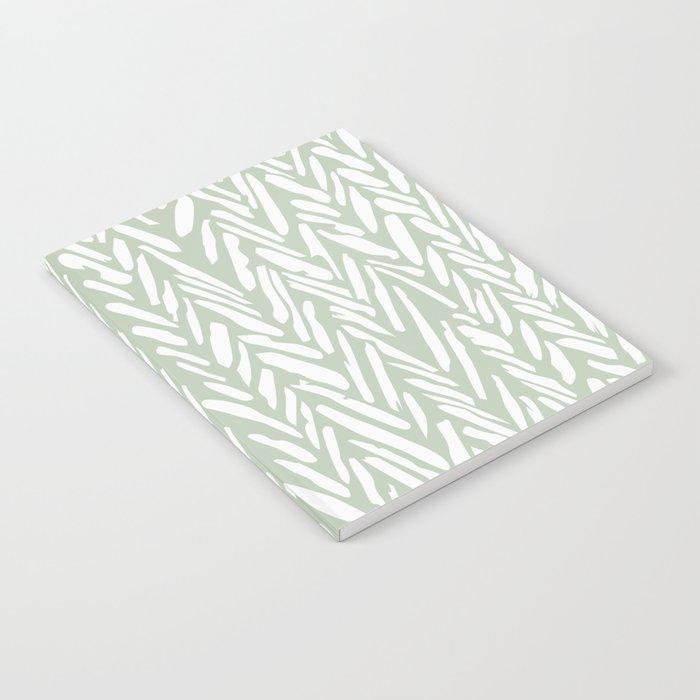 Light green herringbone pattern with cream stripes Notebook