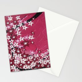 cherry blossoms in light and dark pink - a hanging branch, bedroom prints for  girl , girls art Stationery Cards