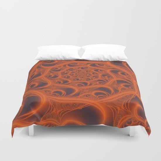 Fractal Web in Halloween Orange Duvet Cover