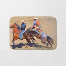 The Saddle Bronc and the Pickup Man - Rodeo Art Bath Mat