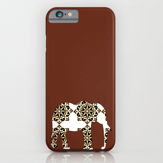 Animals Illustration - Damask Elephant on brown iPhone & iPod Case