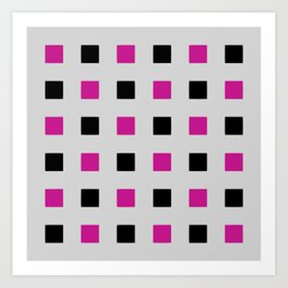 Geometric abstraction: cerise and black squares on gray (grey) Art Print