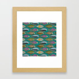Alaskan halibut teal Framed Art Print