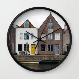 Row houses and Canal in The Netherlands Wall Clock