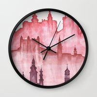 cities Wall Clocks featuring My cities by Zuzana Ondrejkova