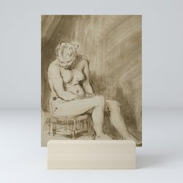 Nude Woman Seated on a Stool Mini Art Print