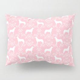 Husky floral dog pattern simple minimal basic dog silhouette huskies dog breed pink and white Pillow Sham