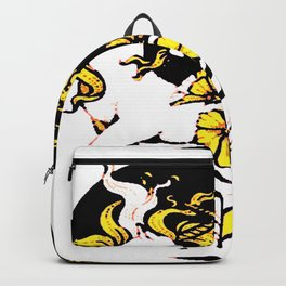 TWO UNICORNS & FLOWERS IN BLACK-GOLD ART Backpack